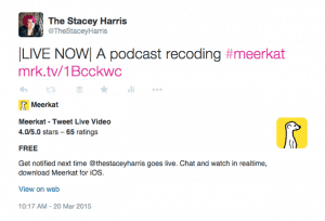 Meerkat Going Live Tweet - Learn more on #HittheMIc